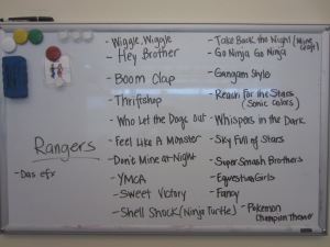 Rangers Song List